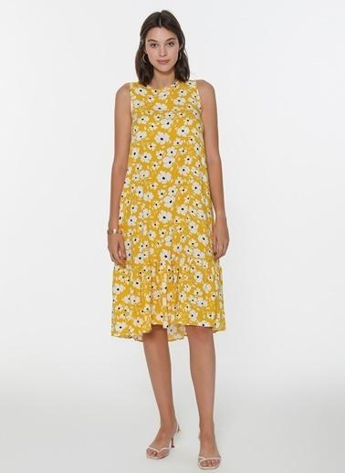 Loves You Desenli Kolsuz Elbise Sarı